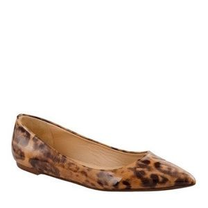 J. Crew Cheetah Print Pointed Flats Leather Size 9
